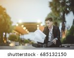 tired or stressed businessman... | Shutterstock . vector #685132150