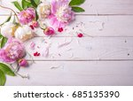 stunning pink and white peonies ... | Shutterstock . vector #685135390
