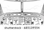 airplane cabin cockpit sketch... | Shutterstock .eps vector #685139554