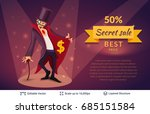 sly character offers specials.... | Shutterstock .eps vector #685151584