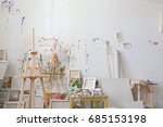 wall in the artist's studio... | Shutterstock . vector #685153198