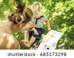 beautiful young mother with a... | Shutterstock . vector #685173298