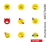 flat icon face set of sad  have ... | Shutterstock .eps vector #685176688
