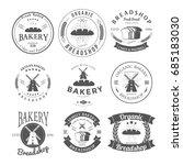 set of nine bakery label and... | Shutterstock .eps vector #685183030