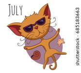 cartoon vector cat for calendar ... | Shutterstock .eps vector #685183663