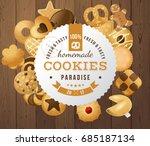 100 fresh and tasty homemade... | Shutterstock .eps vector #685187134
