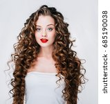 woman with red lipstick. curly... | Shutterstock . vector #685190038