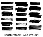 set of black paint  ink brush... | Shutterstock .eps vector #685195804