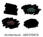 set of black paint  ink brush... | Shutterstock .eps vector #685195876