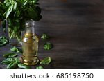 basil simple syrup on a dark... | Shutterstock . vector #685198750