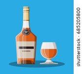 cognac bottle and glass. cognac ... | Shutterstock .eps vector #685205800