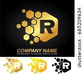 hexagon letter r logo design... | Shutterstock .eps vector #685209634
