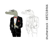 dressy alligator with champagne ... | Shutterstock .eps vector #685218466