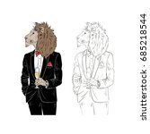 dressy lion with champagne ... | Shutterstock .eps vector #685218544