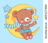 Stock vector cute baby bear sitting on the moon cartoon hand drawn vector illustration can be used for baby t 685227484