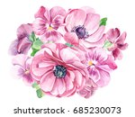 bouquet of pink pansy and... | Shutterstock . vector #685230073