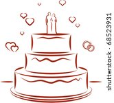 big wedding cake with toppers ... | Shutterstock .eps vector #68523931
