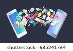 isometric concept of exchange... | Shutterstock .eps vector #685241764