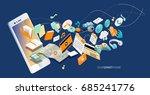 isometric concept of smartphone ... | Shutterstock .eps vector #685241776