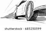 car speeding wheel vector... | Shutterstock .eps vector #685250599