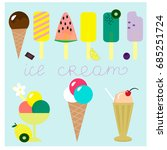 collection with different ice... | Shutterstock .eps vector #685251724