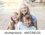 mother  son  and daughter... | Shutterstock . vector #685258120