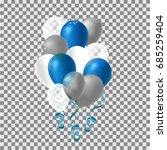 set of silver   blue helium... | Shutterstock .eps vector #685259404