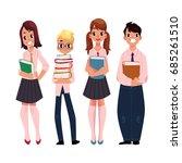 four students  pupils  school... | Shutterstock .eps vector #685261510
