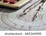 compasses  and calculator on ... | Shutterstock . vector #685264900