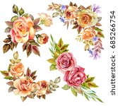 watercolor roses bouquets | Shutterstock . vector #685266754
