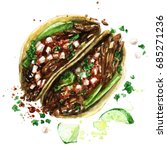tacos. watercolor illustration.  | Shutterstock . vector #685271236