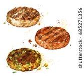 burger patties. watercolor... | Shutterstock . vector #685271356