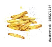 french fries. watercolor... | Shutterstock . vector #685271389
