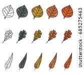 set autumn green  yellow  red ...   Shutterstock .eps vector #685275463