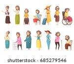 senior woman disable old... | Shutterstock .eps vector #685279546