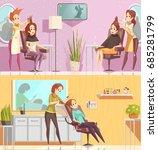 hair salon service 2 retro... | Shutterstock .eps vector #685281799