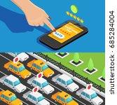 mobile app taxi service... | Shutterstock .eps vector #685284004