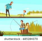 fatherhood 2 retro cartoon...   Shutterstock .eps vector #685284370