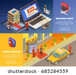 hotel booking applications with ... | Shutterstock .eps vector #685284559