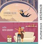 selfie horizontal banners set... | Shutterstock .eps vector #685284628