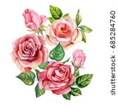 watercolor bouquet of red roses | Shutterstock . vector #685284760