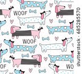 seamless cute dog pattern... | Shutterstock .eps vector #685285570