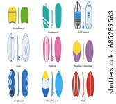 different surfboard collection. ... | Shutterstock . vector #685289563