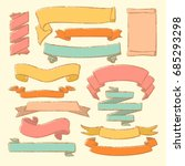 colorful collection of vintage... | Shutterstock . vector #685293298