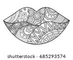 line art design of woman lips... | Shutterstock .eps vector #685293574