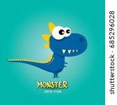 vector cartoon funny blue... | Shutterstock .eps vector #685296028