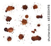 coffee stains vector set. brown ... | Shutterstock .eps vector #685300498