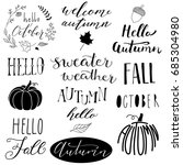 hand drawn autumn logos | Shutterstock .eps vector #685304980