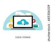 notebook laptop upload cloud... | Shutterstock .eps vector #685306339