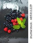 fresh washed raspberries ... | Shutterstock . vector #685311229